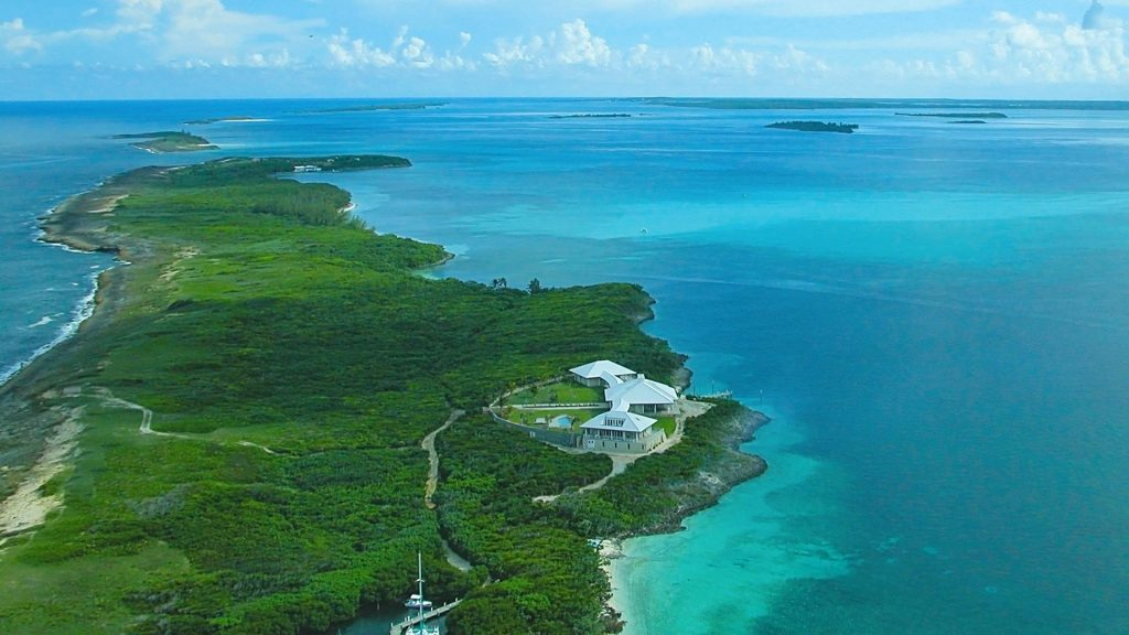 Tilloo Pond and neighboring island in the sea of Abaco