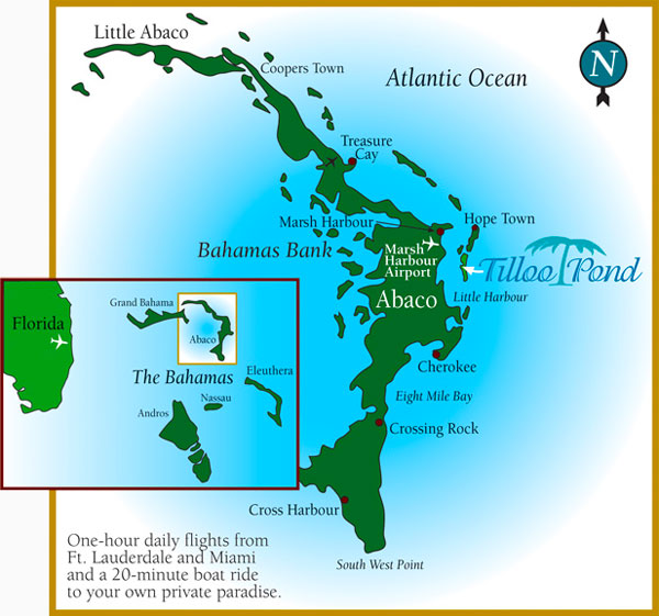 Map of Tilloo Cay, Abaco Bahamas